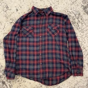 Mens blue and red plaid button down shirt